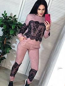 Стильный ангоровый костюм с кружевом,  размеры S M
