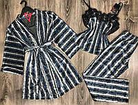 Комплект домашней одежды в полоску из велюра 022-010.