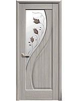 Дверное полотно Прима Ясень New со стеклом сатин с рисунком Р1