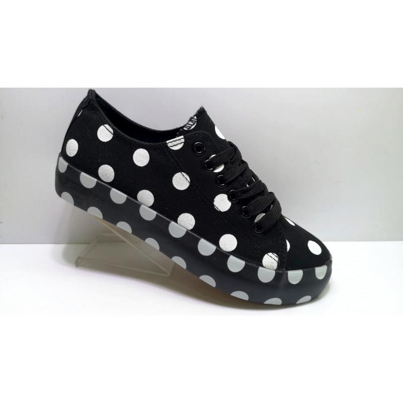 Жіночі кросівки кріпери кеди чорні в білий горошок 40 розмір