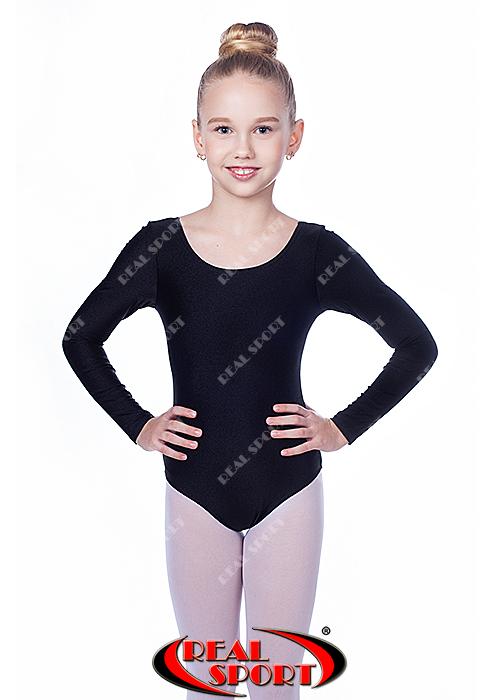 Черный купальник для гимнастики GM030144 (бифлекс, р-р L-XL, рост 134-155 см)