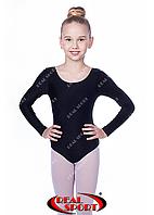 Черный купальник для гимнастики GM030144 (бифлекс, р-р L-XL, рост 134-155 см), фото 1