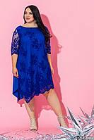 Женское нарядное платье батал миди /электрик, 48-64, ST-56828/