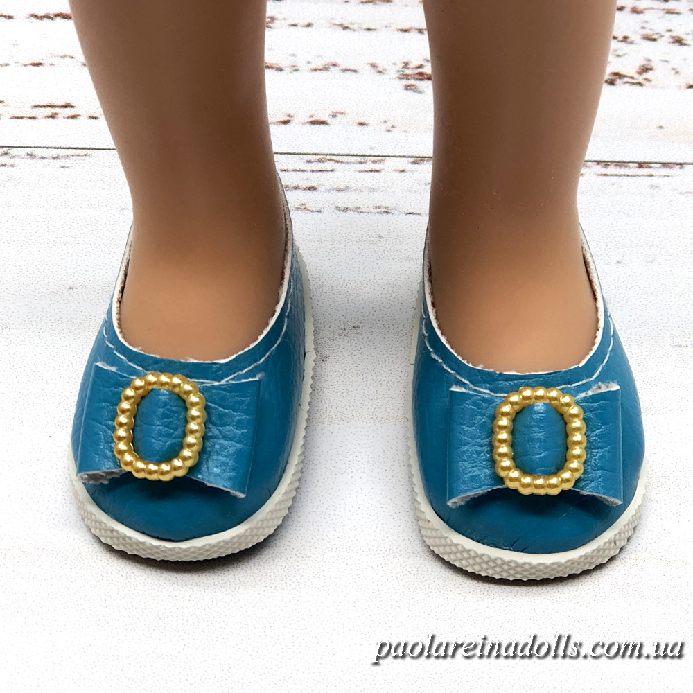 Туфли бирюзовые с бантиком для кукол Паола Рейна