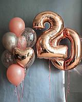 """Набор на День Рождения из 9 шаров плюс Цифры """"Pink Gold"""""""