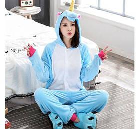 Пижама Кигуруми Единорог Голубой (M)