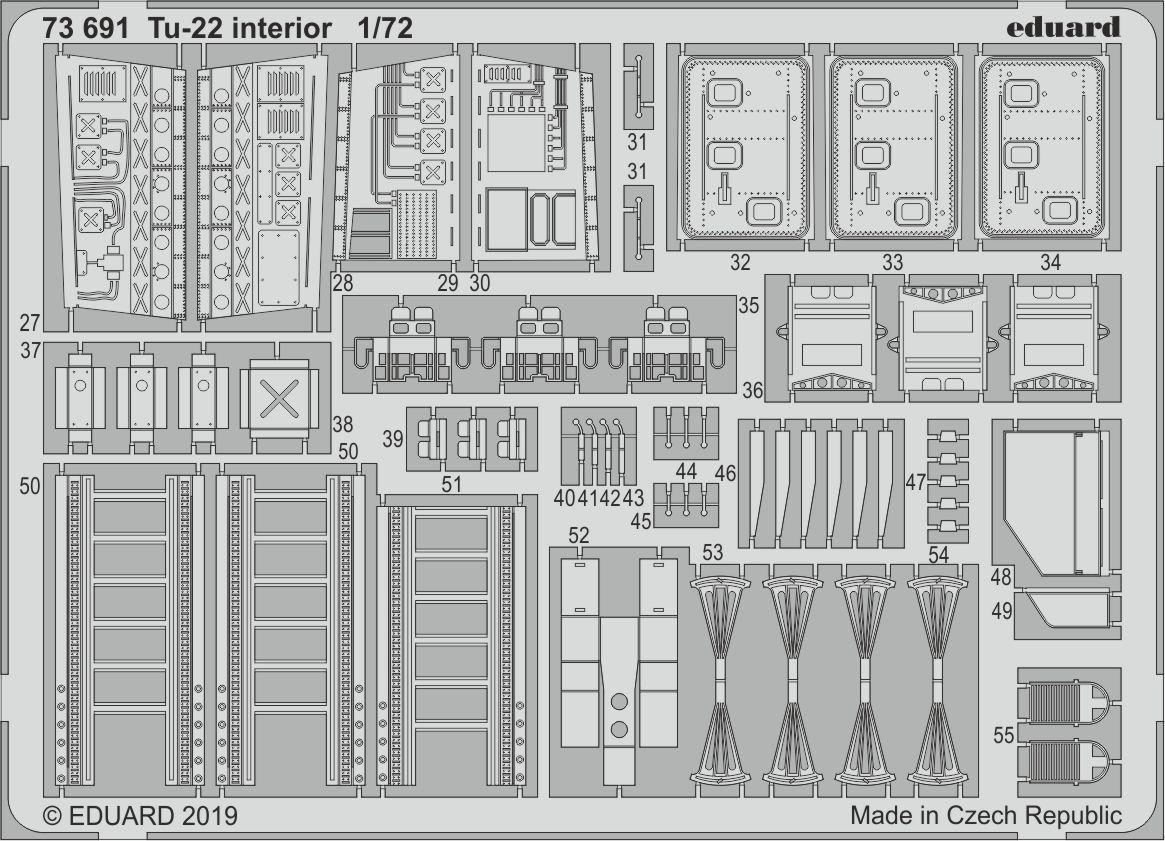 Ту-22 интерьер, набор фототравления для модели TRUMPETER. 1/72 EDUARD 73691