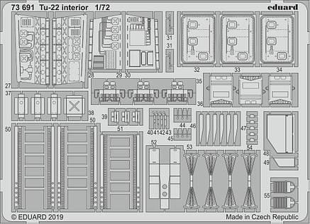 Ту-22 интерьер, набор фототравления для модели TRUMPETER. 1/72 EDUARD 73691, фото 2