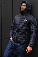 Куртка мужская зимняя теплая качественная темно-синяя The North Face