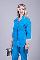 Женский медицинский брючный костюм синий Medical-2232 (батист)