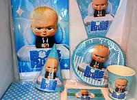 """Набор посуды и декора для оформления праздника в стиле""""беби босс"""" (BOSS BABY)"""