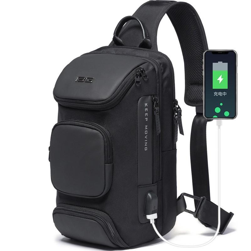 Однолямочный рюкзак Bange BG7086, с USB портом, два отделения, шесть карманов, влагозащищённый, 7л
