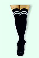 """""""Японочка"""" чёрные хлопковые ботфорты ( гольфы выше колена) с модными белыми полосками"""