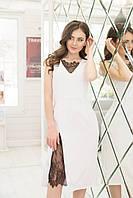 Белое платье-футляр с кружевом (S/M)
