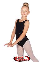 Купальник майка для гимнастики и танцев, черныйGM030147 (хлопок, р-р 1-XL, рост 98-155 см)