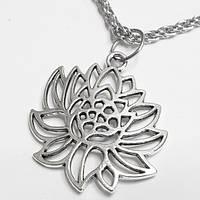 """Кулон """"Цветок лотоса"""" (31х27мм) на цепочке под серебро. Бижутерия., фото 1"""