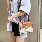 Женская стильная сумочка современного дизайна,  бежевая UA-3, фото 3