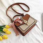 Женская стильная сумочка современного дизайна,  бежевая UA-3, фото 6