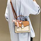 Женская стильная сумочка современного дизайна,  бежевая UA-3, фото 8