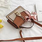 Женская стильная сумочка современного дизайна,  бежевая UA-3, фото 10