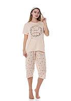 Пижама женская большого размера с бриджами, футболкой и маской для сна, фото 1
