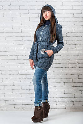 Кардиган женский длинный   с капюшоном  42-48 синий