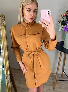 Короткое платье-рубашка с гипюром 42-48 (в расцветках)