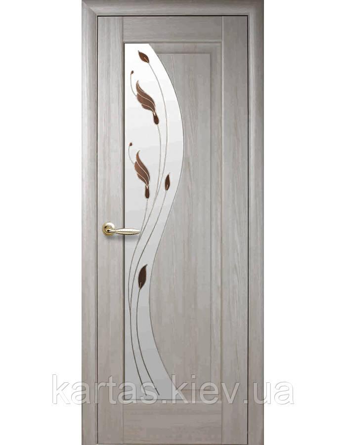 Дверное полотно Премьера Ясень New со стеклом сатин с рисунком Р1