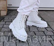 Женские зимние ботинки Dr. Martens Jadon Mono White Доктор Мартинс Жадон белые С МЕХОМ, фото 2