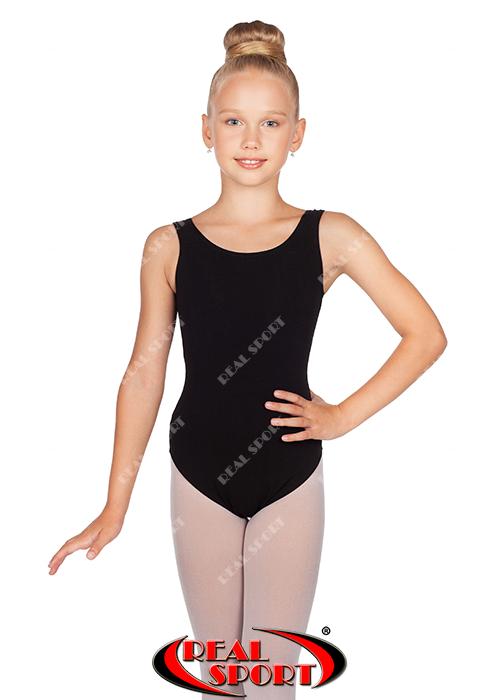 Купальник майка для гимнастики и танцев, черныйGM030148(хлопок, р-р L-XL, рост 134-155 см)