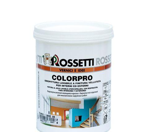 Стойкая к мытью сатиновая краска для водной основе для интерьеров COLORPRO (15 л) Rossetti