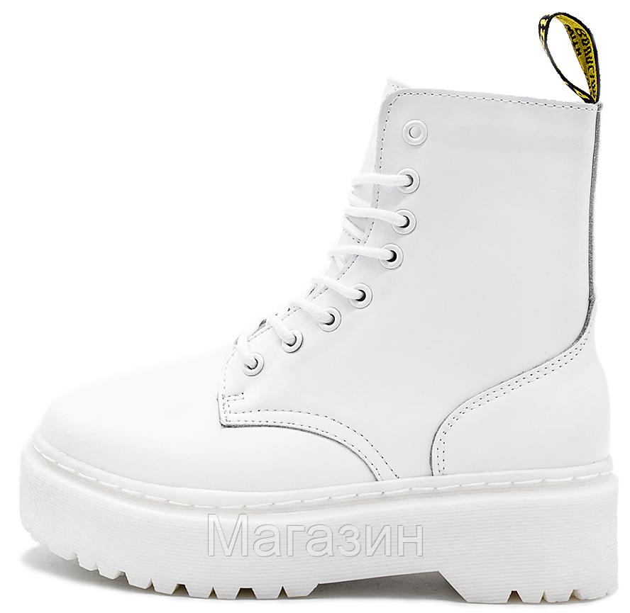 Женские зимние ботинки Dr. Martens Jadon Mono White Доктор Мартинс Жадон белые С МЕХОМ