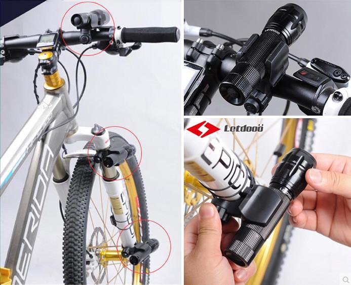 Велосипедное быстросъёмное удлинённое крепление с хомутовым соединением на руль / вилку для фонаря Letdooo 45°