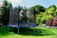 SkyJump-JustFun 252 см до 120 кг с сеткой лестницей спортивный игровой (з захисною сіткою та драбиною ігровий)