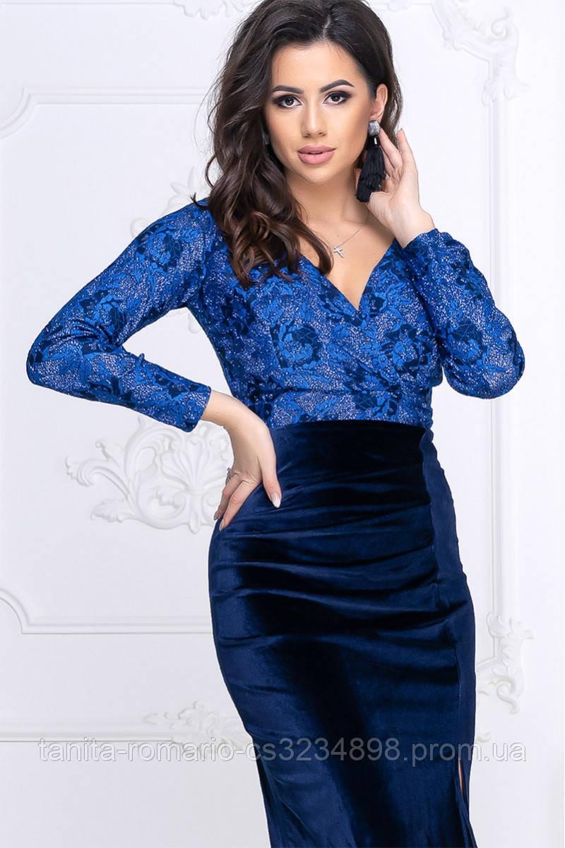 Коктейльна сукня Демі сине мереживо