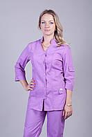 Женский медицинский брючный костюм сиреневый Medical-2213 (батист)
