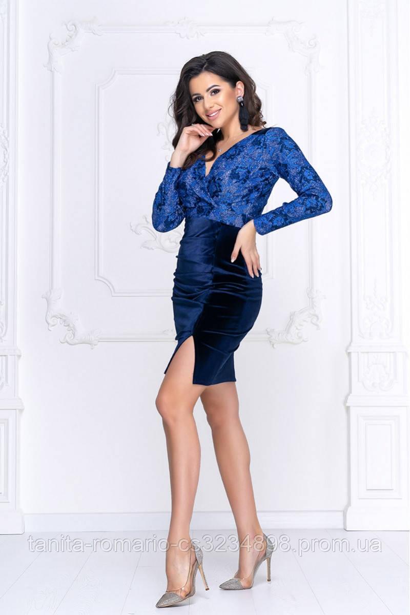 Коктейльна сукня Демі сине мереживо L