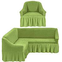 Чехол на угловой диван и кресло, цвет оливковый