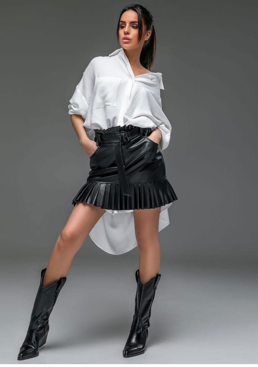 Стильная мини юбка из экокожи Midi (42–46р) черный