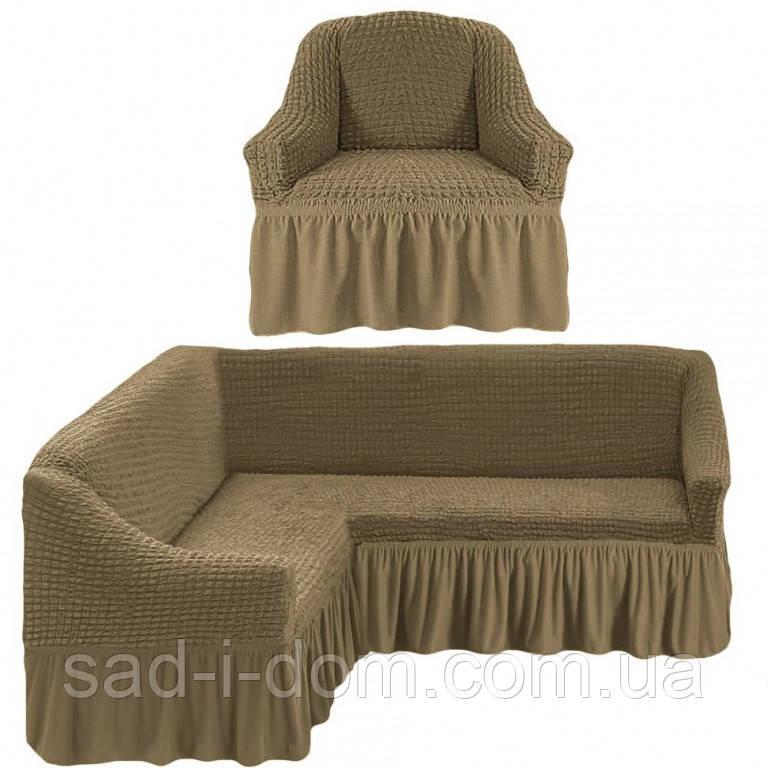 Еврочехол на угловой диван и кресло, цвет хаки