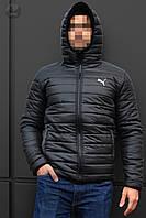 Куртка чоловіча зимова тепла якісна чорна Puma, фото 1