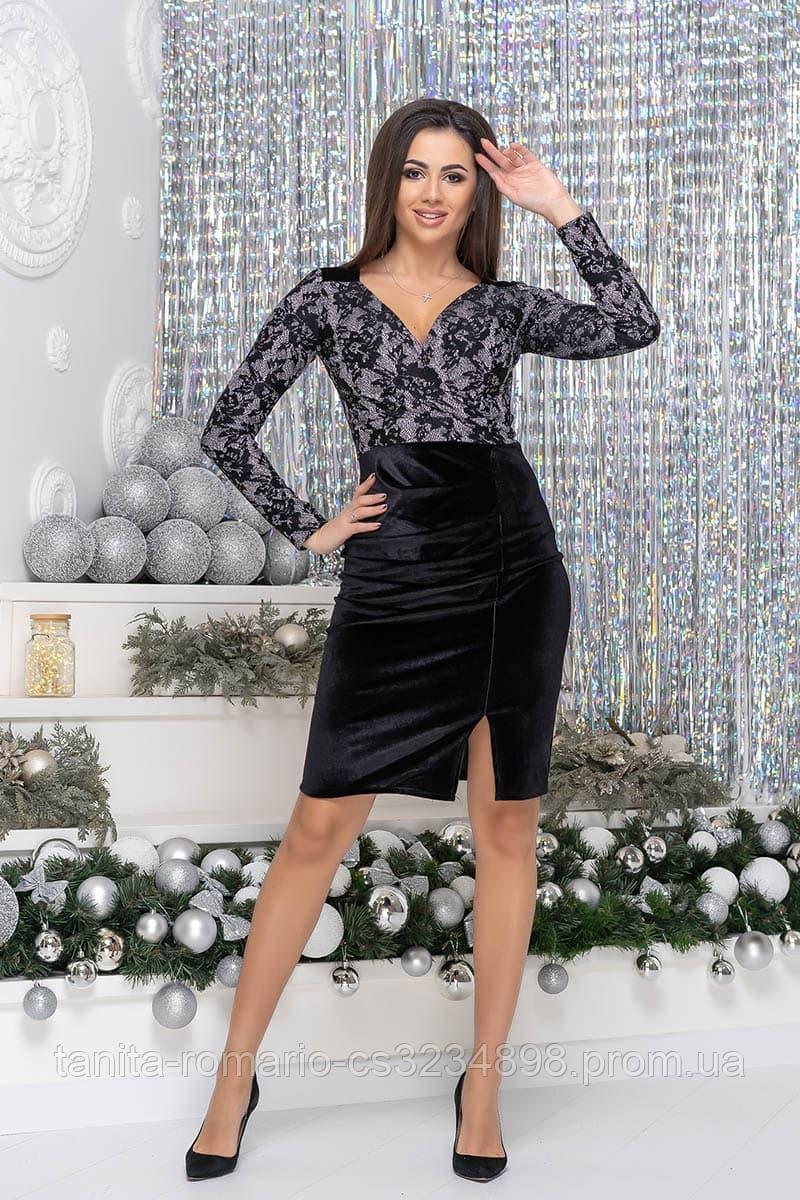Коктейльна сукня Демі срібне мереживо XL