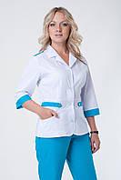 Женский медицинский брючный костюм(белый+бирюза) Medical-2208 (батист)