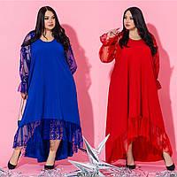 Женское нарядное платье батал с укороченным передом /разные цвета, 48-60, ST-56824/