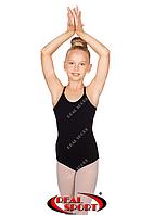 Купальник на бретельках для гимнастики, черный GM030151 (хлопок, р-р 0-XL, рост 98-164 см), фото 1