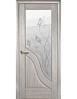 Дверное полотно Амата Ясень New со стеклом сатин с рисунком Р2