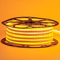 Светодиодный неон 12В желтый smd 2835-120 лед/м 6Вт/м, 8*16мм ПВХ