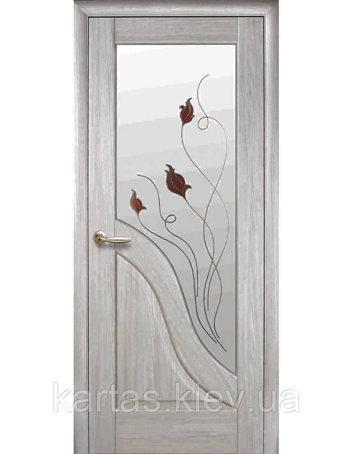 Дверное полотно Амата Ясень New со стеклом сатин с рисунком Р1