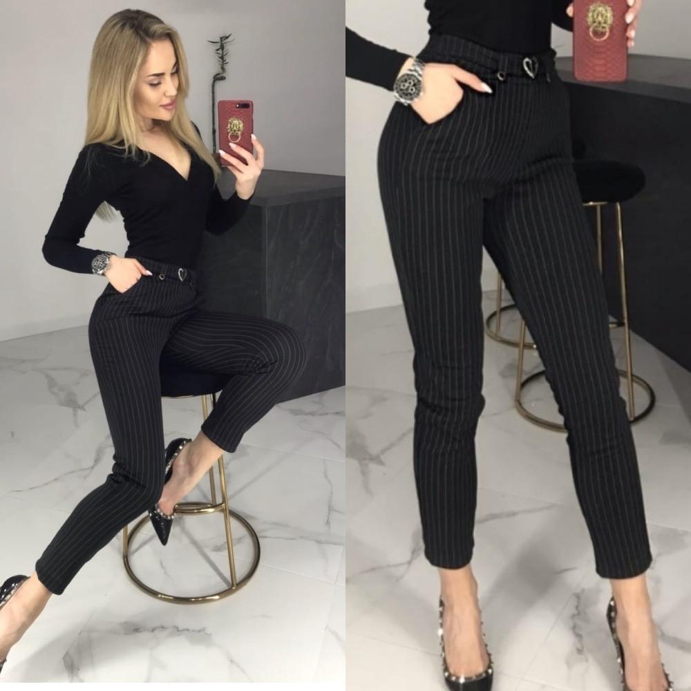 Брюки женские, черные в полоску, утепленные, офисные, модные, повседневные, зауженные, укороченные, с карманам