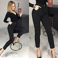 Брюки женские, черные в полоску, утепленные, офисные, модные, повседневные, зауженные, укороченные, с карманам, фото 1
